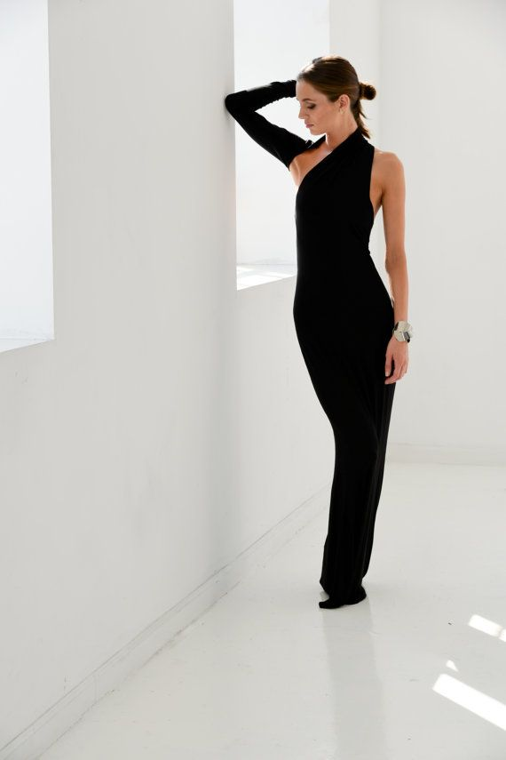 4274413a9dc Formal Maxi Dress   One Shoulder Dress   Black Dress   Prom Dress ...