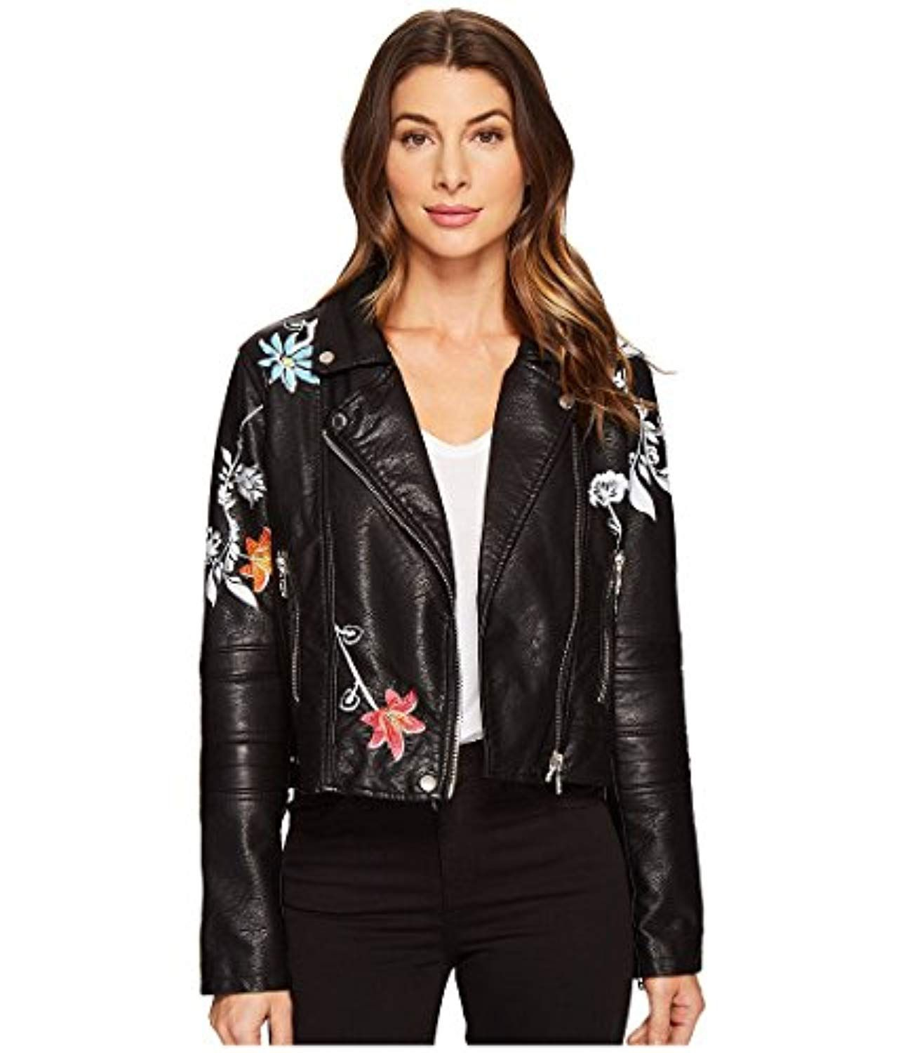Blank NYC Womens Vegan Leather Graphic Moto Jacket in