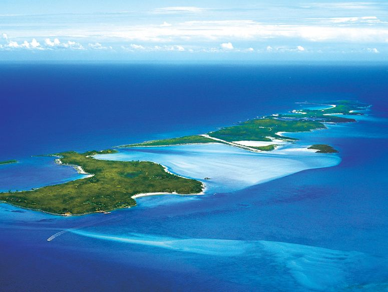 All we need to say is: 150 acres Exuma Chain island owned by magician David Copperfield