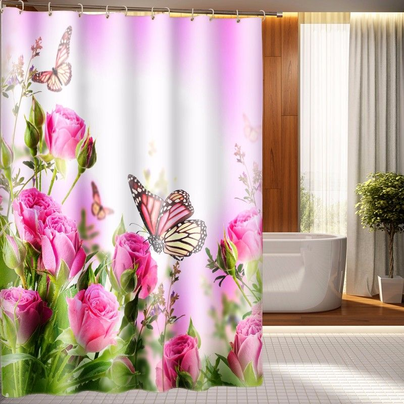 Pink Flowers Butterfly 3d Photo Digital Printing Bath Waterproof Shade Shower Curtains 45 Shower Curtain Fabric Shower Curtains Printed Shower Curtain