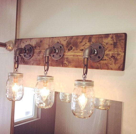 Rustic mason jar light fixture 3 mason jars light industrial industrialmodernrustic wood handmade 3 mason jars light fixturepipechainfarm house aloadofball