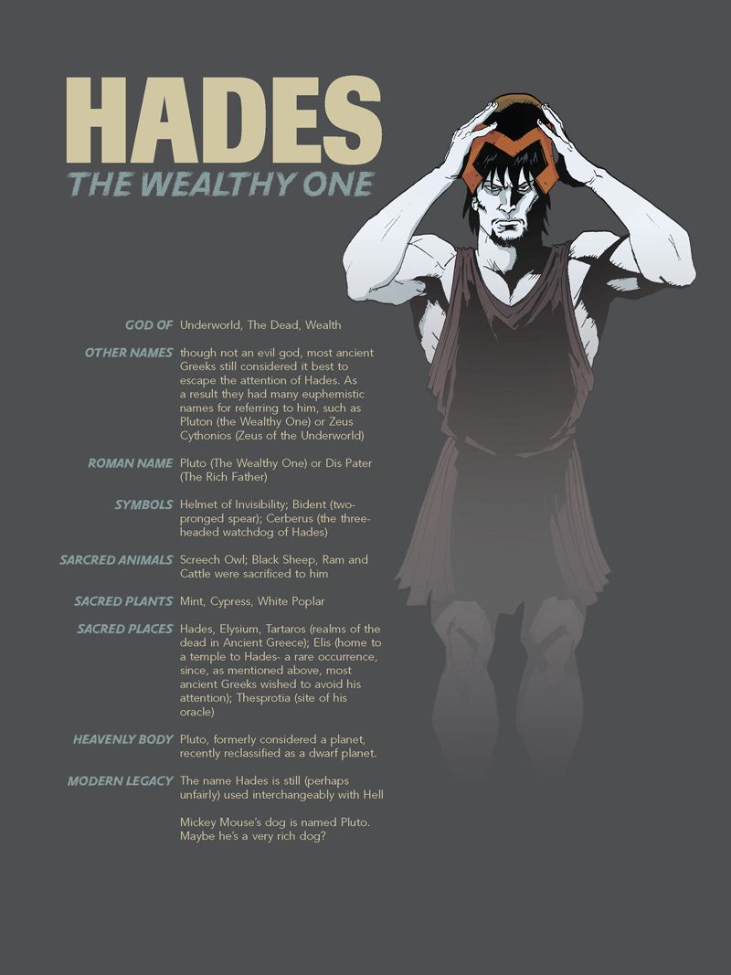Hades - God of the underworld and Wealth and stuff  He must live off