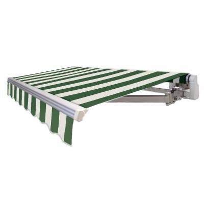 Awntech 16 Ft Maui Manual Retractable Awning In Forest White Stripe Green White Retractable Awning Fabric Awning Porch Awning
