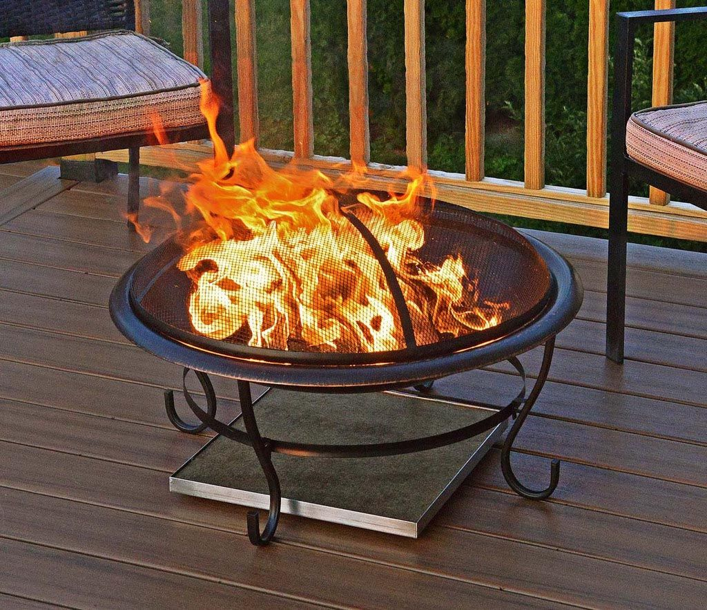 Metal fire pit on wood deck - Fire Pit Pad For Deck