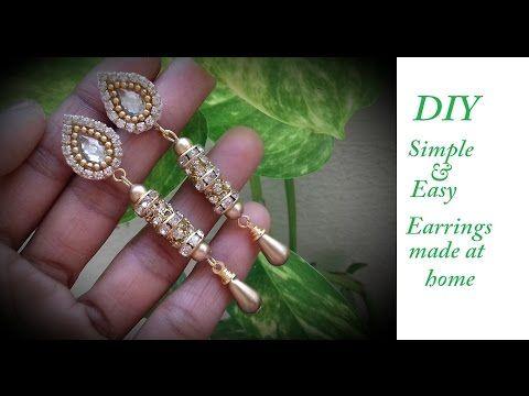 DIY || how to make designer earrings at home || DIY simple and ...