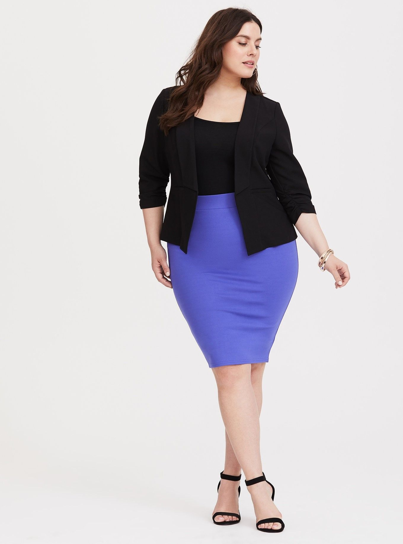 98f0158e3 Blue Iris Ponte Pencil Skirt - Thick ponte knit fabric stretches the way  you need while smoothing you out and maintaining its shape.