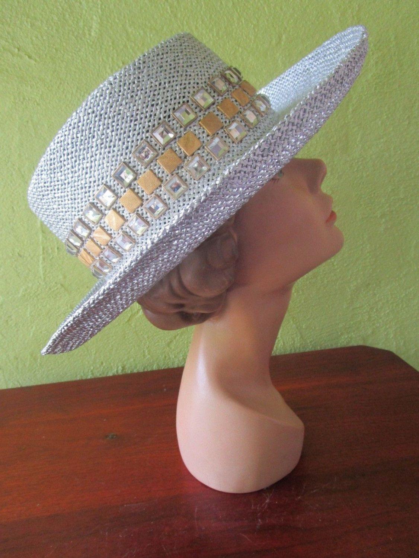 Bling! Silver Straw Fedora Hat Sun Shade Rhinestone Band by FabulousVintageHats on Etsy