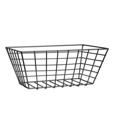 Black. Small metal wire basket. Size 4 1/4 x 6 1/4 x 9 3/4