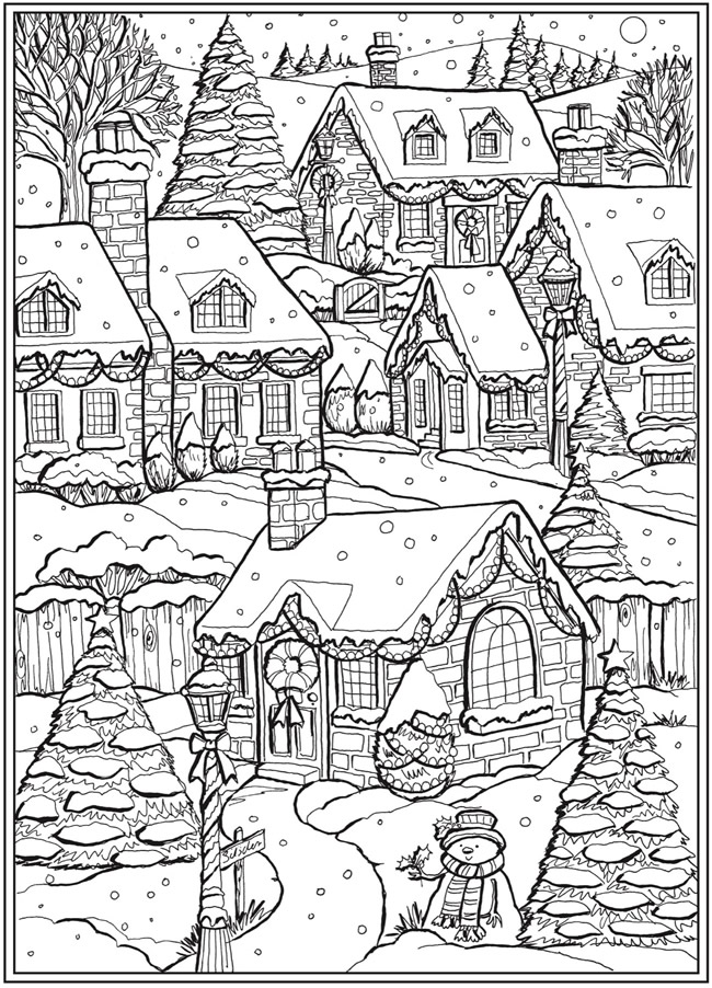 Village Scene From Creative Haven Country Christmas Coloring Book Dover Publications Christmas Coloring Books Coloring Books Christmas Coloring Pages