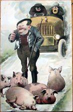 1907 Postcard: Pipe-Smoking Farmer w/Pigs in Street, Early Car/Automobile