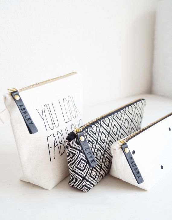 Black And White Handmade Makeup Bags With Personalized