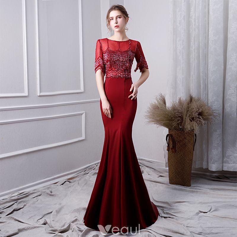 41ff2a5d44 Luxury   Gorgeous Burgundy Evening Dresses 2019 Trumpet   Mermaid Scoop  Neck Beading Crystal Tassel Short Sleeve Sweep Train Formal Dresses