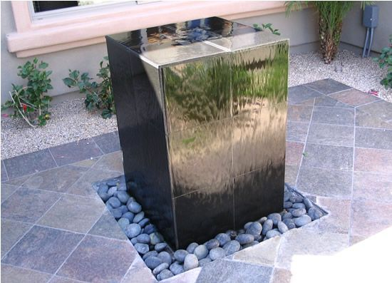 Concrete And Rock Fountain Modern Water Feature Water Features