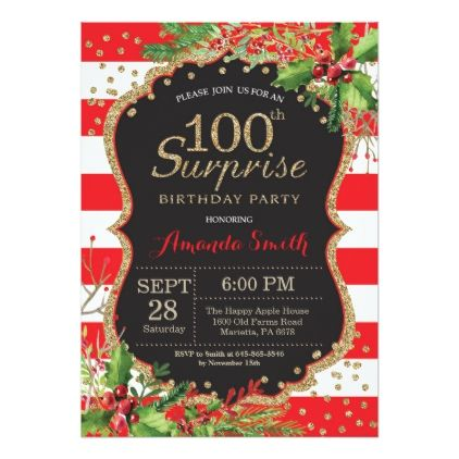 Surprise 100th birthday invitation christmas gold christmas cards surprise 100th birthday invitation christmas gold christmas cards merry xmas family party holidays cyo diy filmwisefo