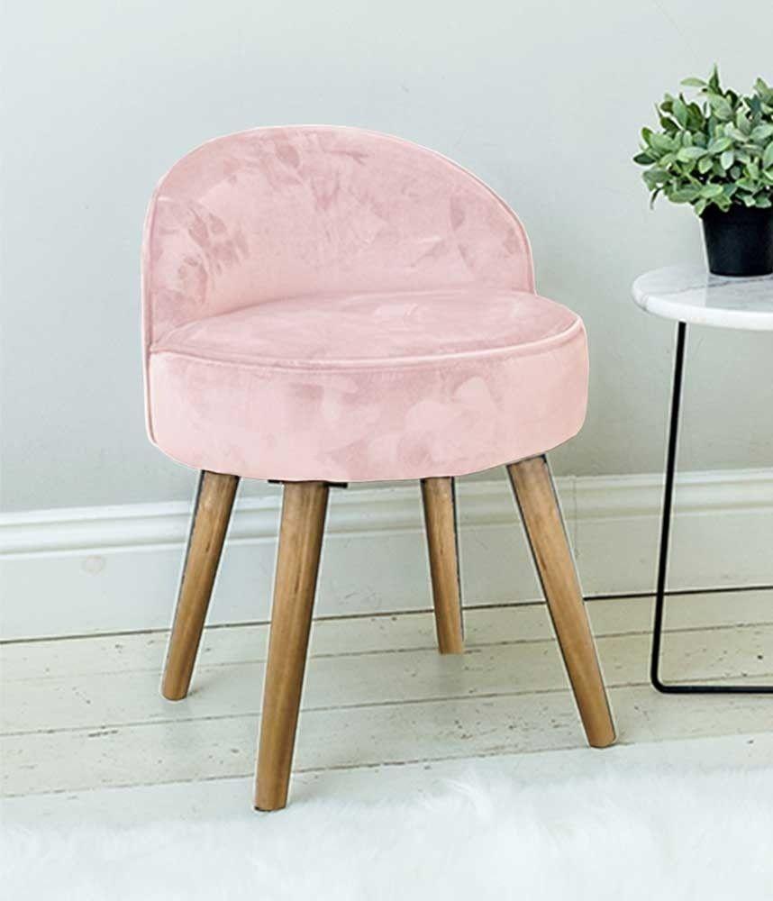 Velvet Moon Back Dressing Table Stool Light Pink Upholstered