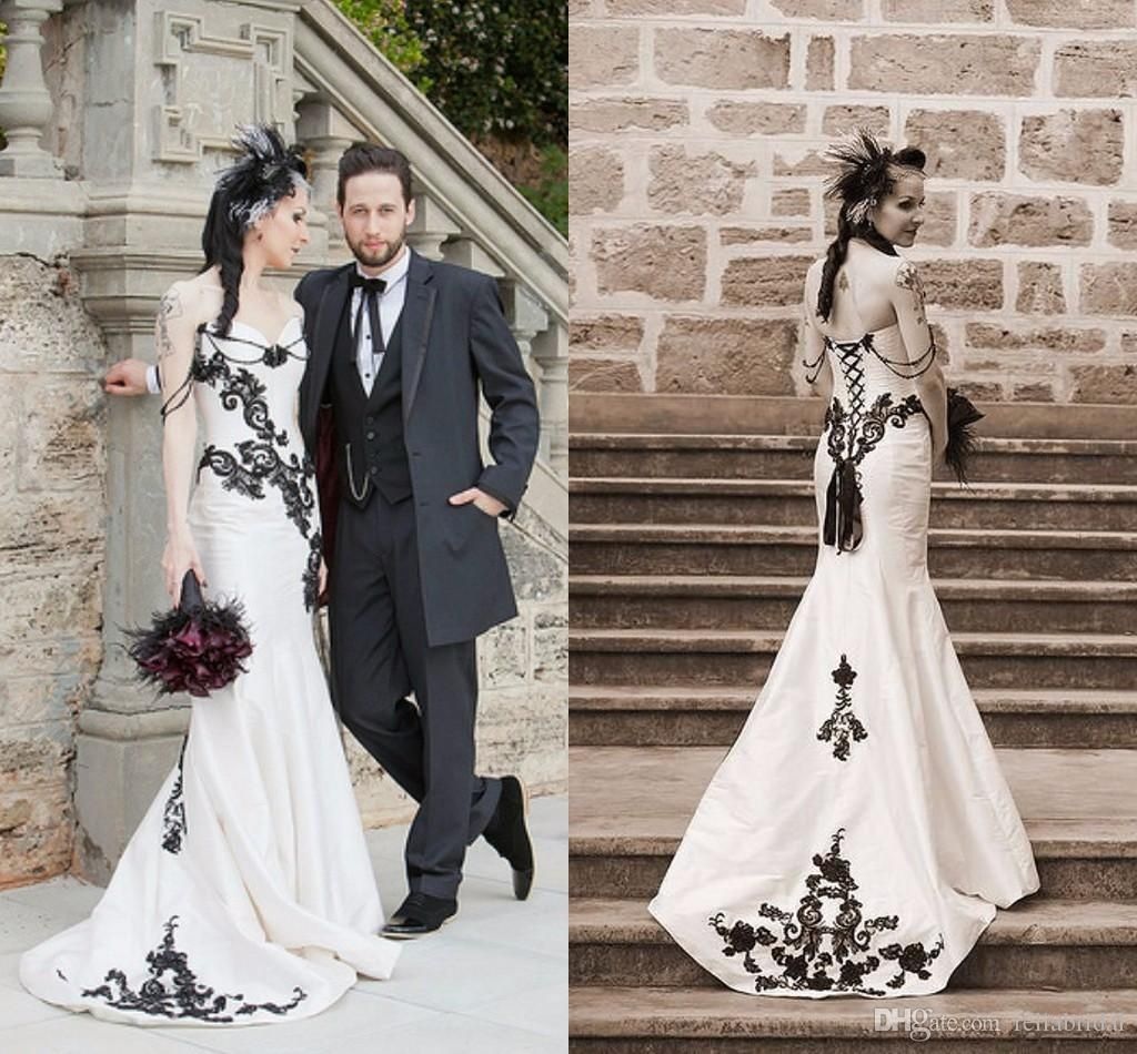 Gothic Black And White Wedding Dresses 2017 Mermaid Sweetheart Liques Bride Sheer Tulle Satin Vintage Gowns Lace Up Ady01