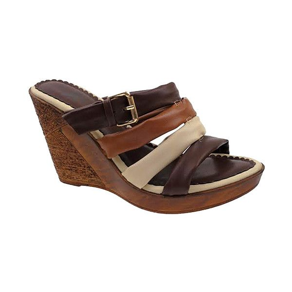 Zuka Brown Zuka Wedge Sandal ($20) ❤ liked on Polyvore featuring shoes, sandals, wedge heel sandals, brown cap, brown platform sandals, high heel shoes and platform shoes