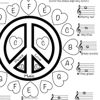 Music Peace Love Music Treble Clef Color Sheet Love Music