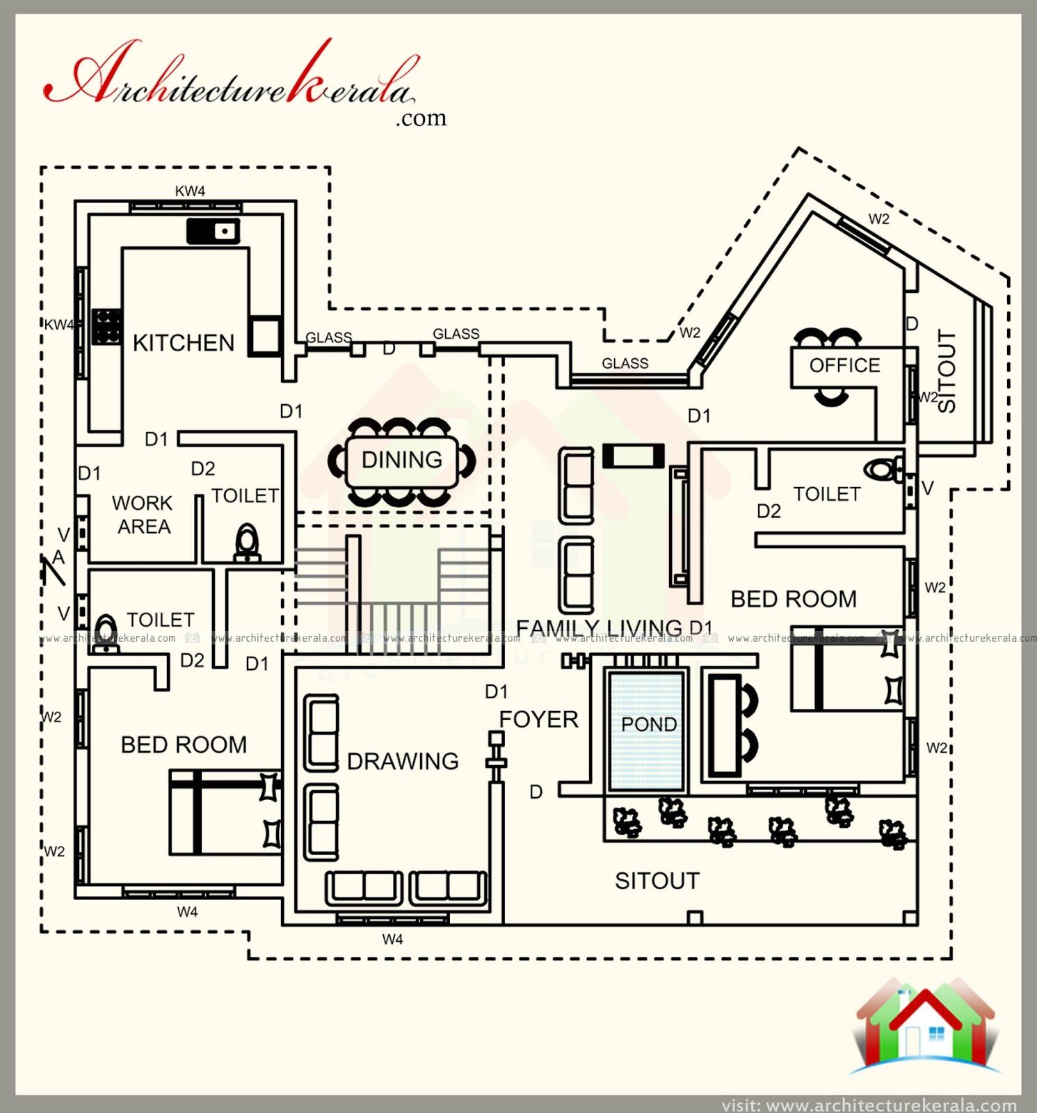 4 sq fr house plan with contemporary style elevation , 4