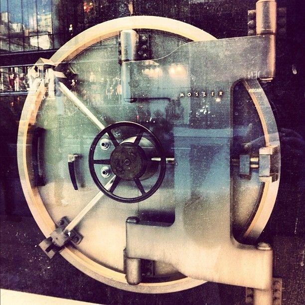 a bank vault door