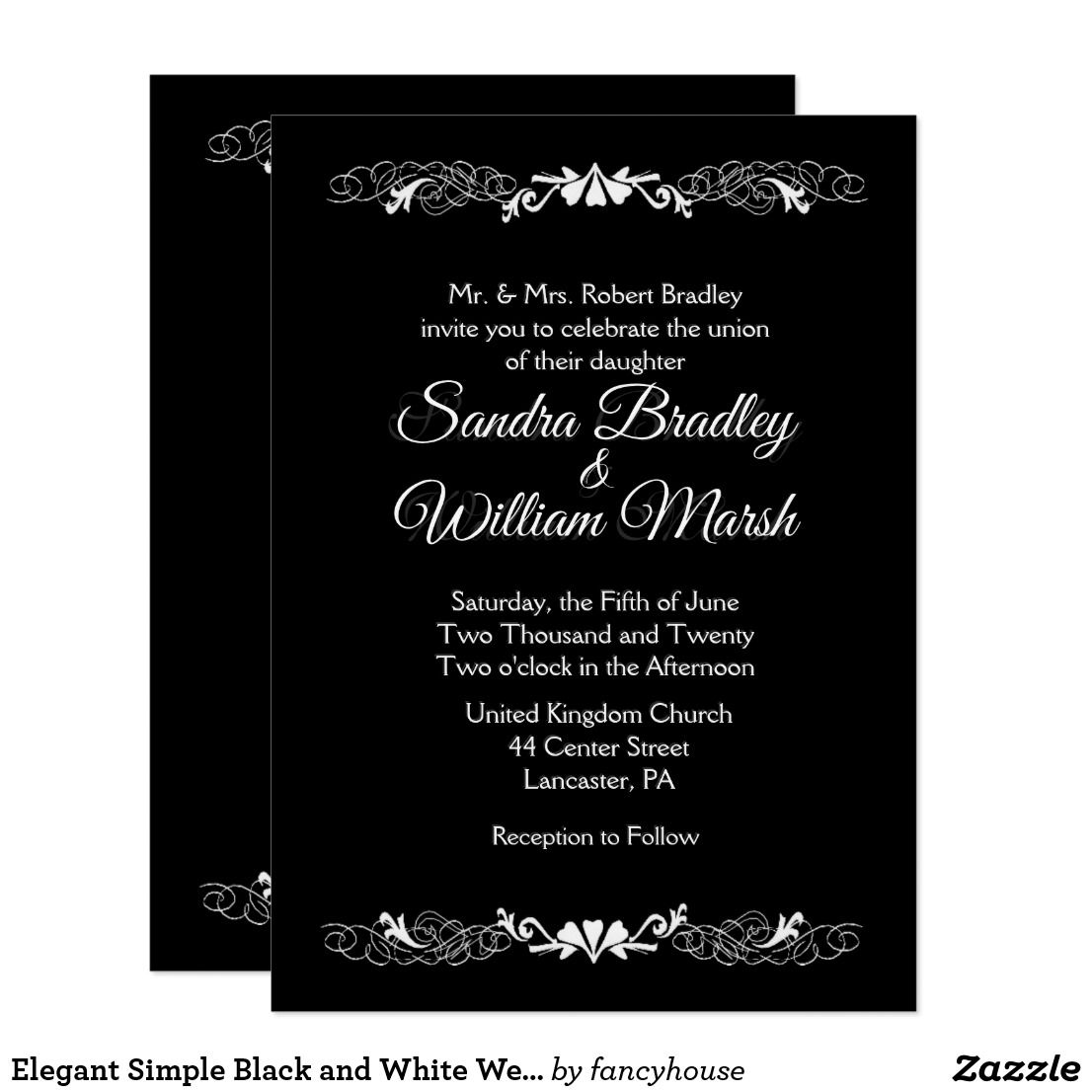 Elegant Simple Black and White Wedding Invitation Elegant and Weddings