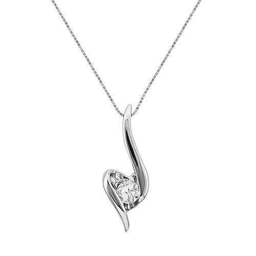 Sirena Collection 1/8 CT. T.W. Diamond 14K White Gold Heart Pendant Necklace suzzBZQL