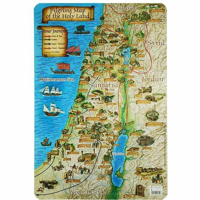 Ideal educational double sided laminated Holy Land Pilgrims Map