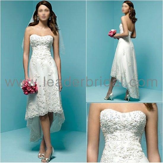 Fashional Short Wedding Dress, Beading Strapless Lace Hi-Low Tea ...