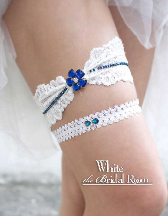 White Lace Bridal Garter Swarovski Crystal Wedding Set Toss Blue