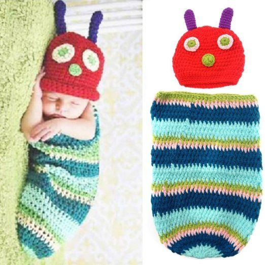 7a061f1dc17 Foxnovo Cute Caterpillar Style Baby Infant Newborn Handmade Crochet Beanie  Hat Clothes Baby Photograph Props (Blue)