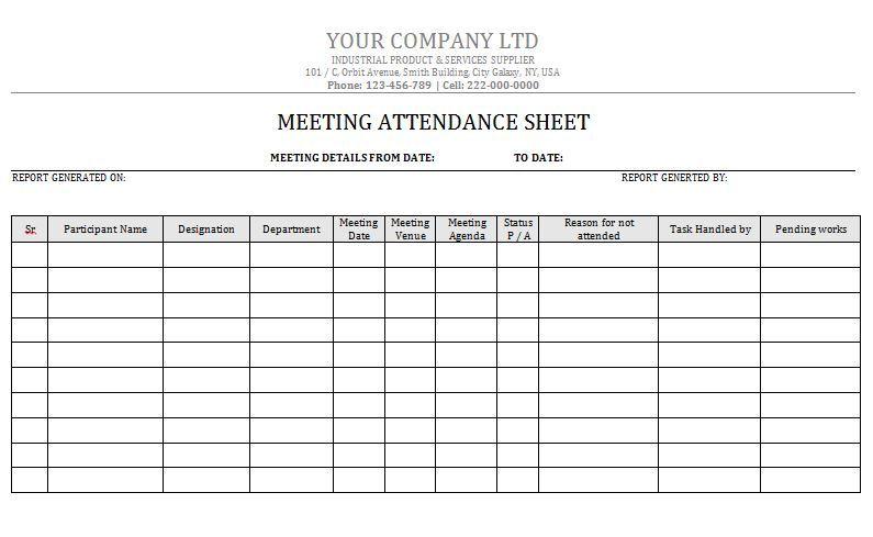 attendance sheet 05 drinks pinterest attendance sheet template