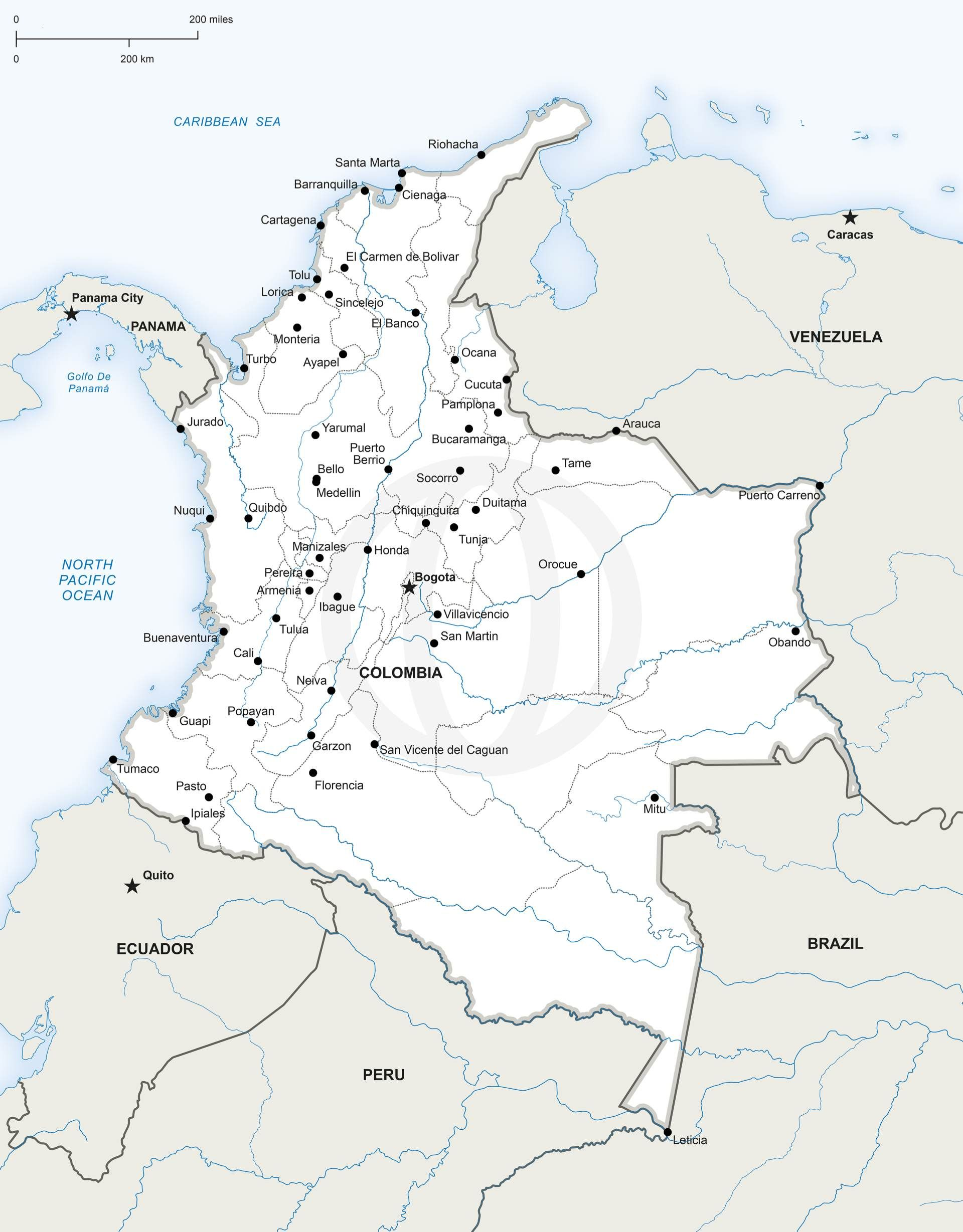 Vector Map Of Colombia Political Colombia - United states map vector free ai