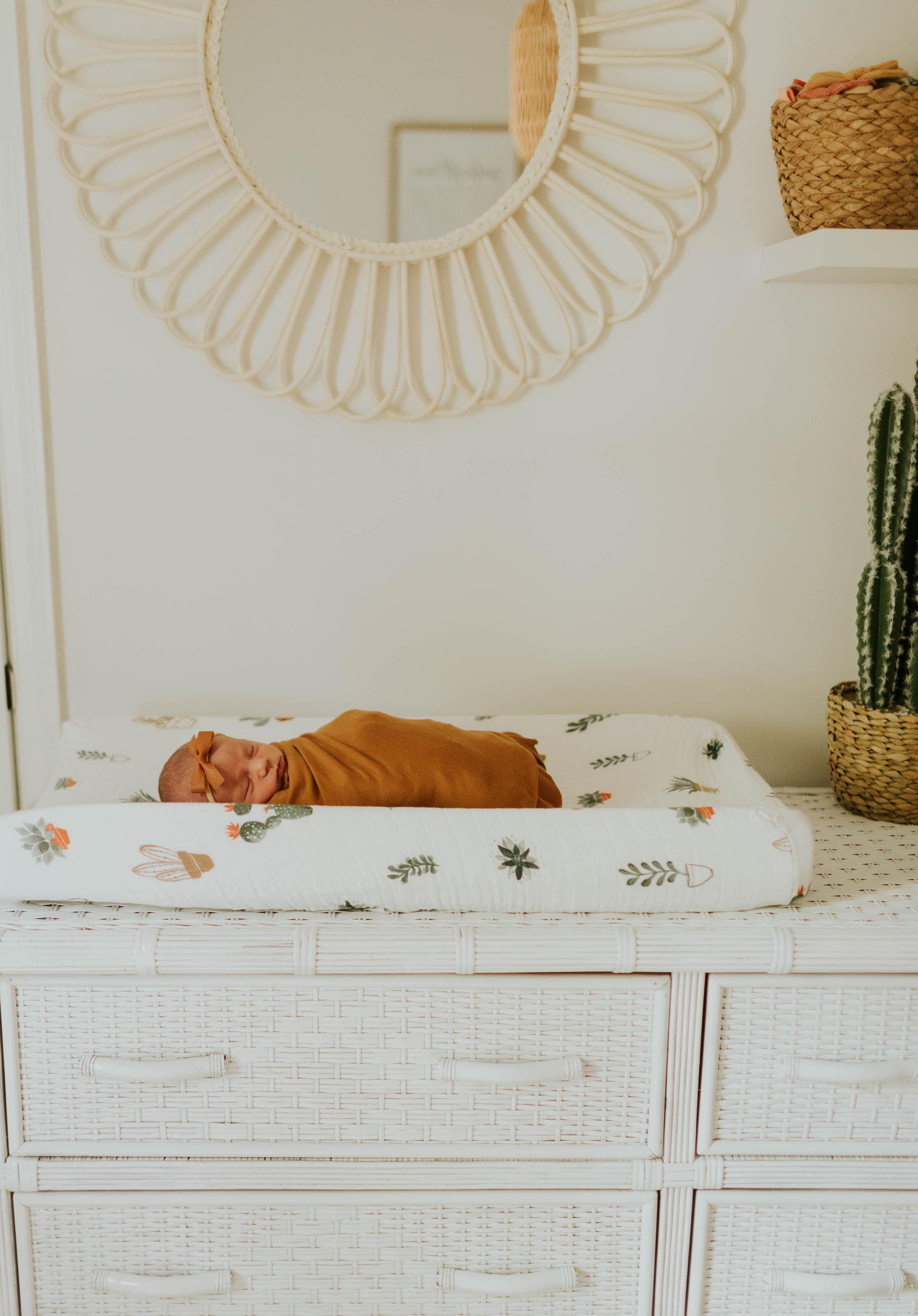 Neutral Nursery Wicker Dresser Changing Table Dresser White Throw Pillows [ 3200 x 2232 Pixel ]