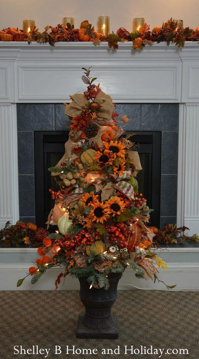 Decorated Fall Tree Ornaments & Tree Kit SBO #falltrees