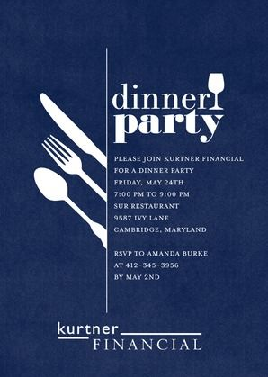 darling dinner party corporate event invitations in baltic or dark