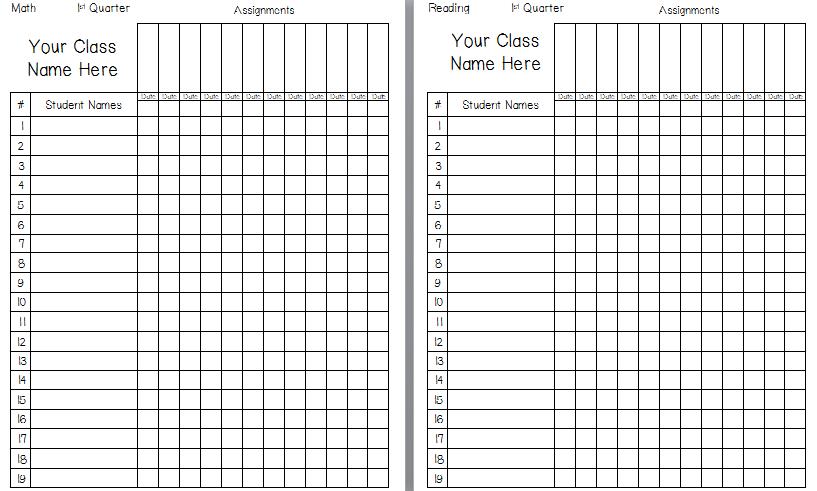 Modern Classroom Assessment Book : Printable grade book freebies classroom