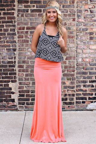 Basic Coral Maxi Skirt | uoionline.com: Women's Clothing Boutique