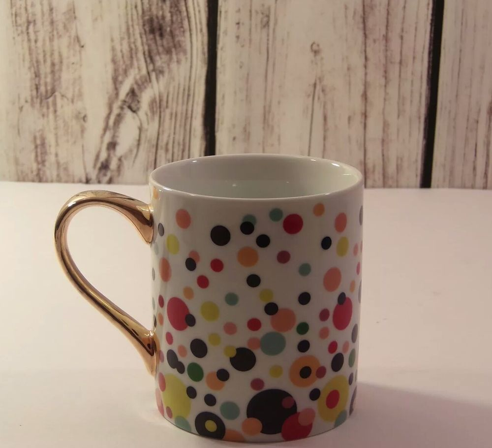 4a99440229ce Ciroa With Love Porcelain Mug Dots multicolored handle made with REAL GOLD   Ciroa