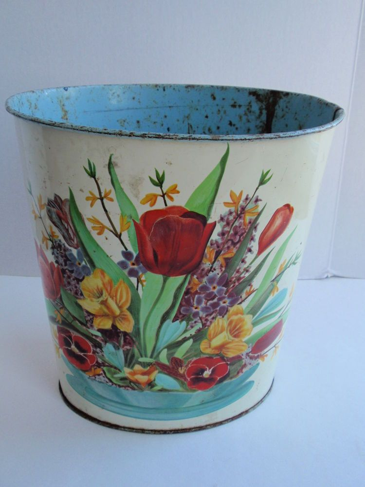 Trash Cans And Wastebaskets Awesome Vintage Cheinco Metal Floral Trash Can Wastebasket Spring Bouquet Review