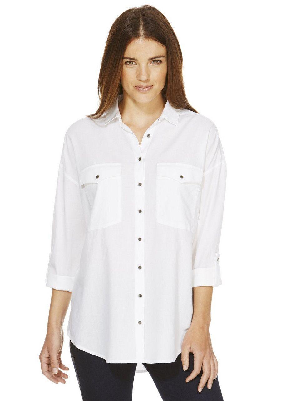 8c8a991fd987e3 Clothing at Tesco | F&F Chambray Boyfriend Shirt > tops > Women's Tops & T- Shirts > Women
