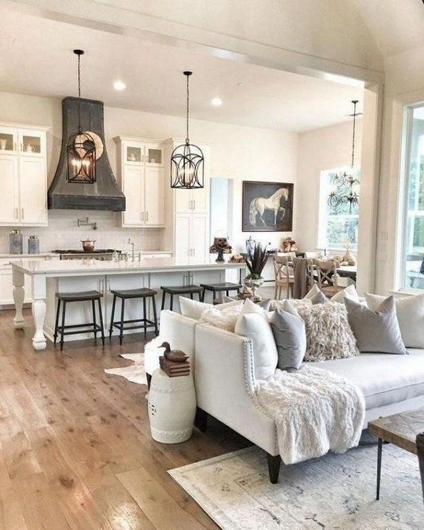 Design For Living Room With Open Kitchen: Trend Spotlight: Modern Farmhouse Interiors