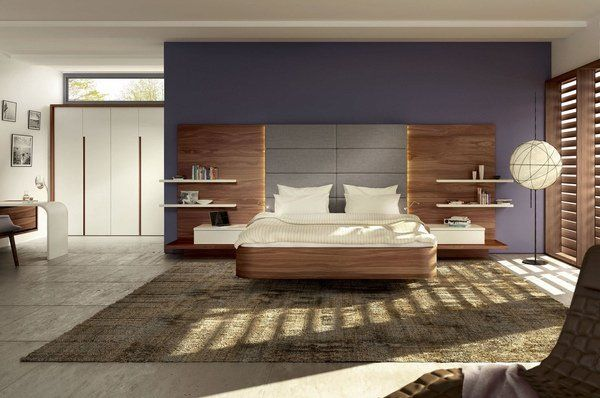 Contemporary Floating Bed Wall Mounted Bedside Tables Decorative Headboard