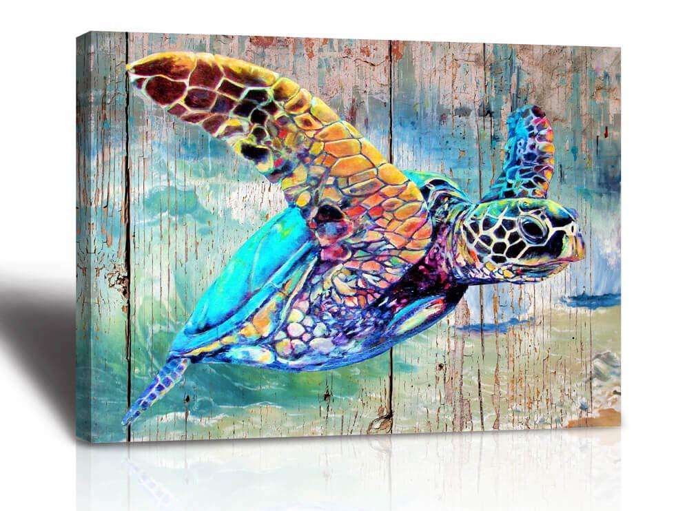 Sea Turtle Wall Decor Framed Canvas Print 12x16x1 In 2020 Baby