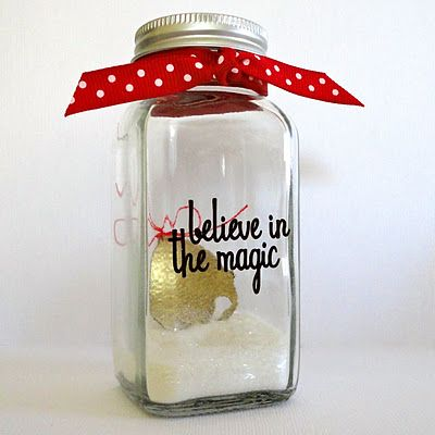 Use small jars with DG bells picked up at after Christmas sales.