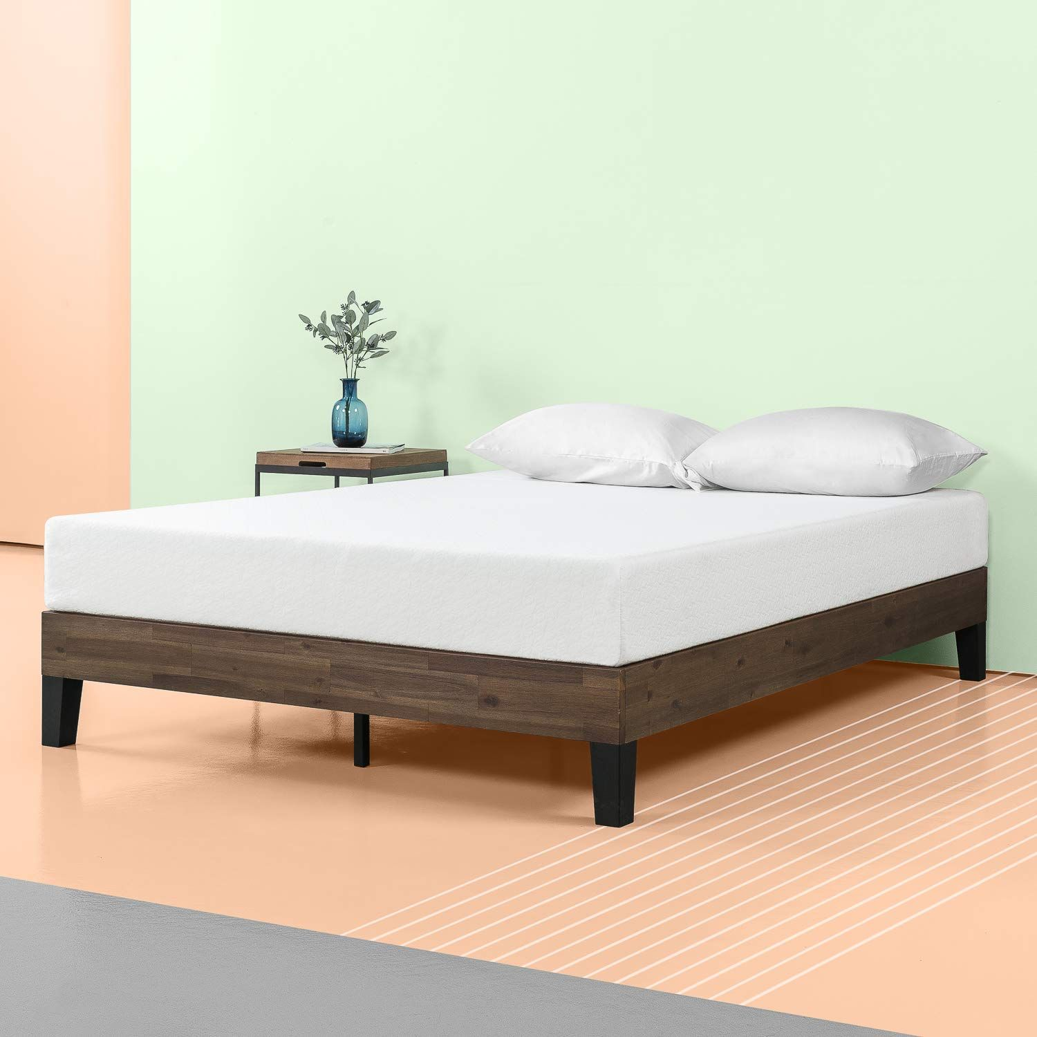 Amazon Com Zinus 12 Inch Acacia Wood Platform Bed No Boxspring