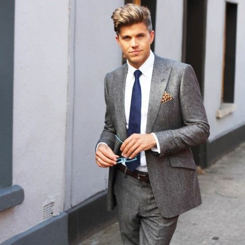 Grey suit with navy tie - Google Search | Fashion<3 | Pinterest