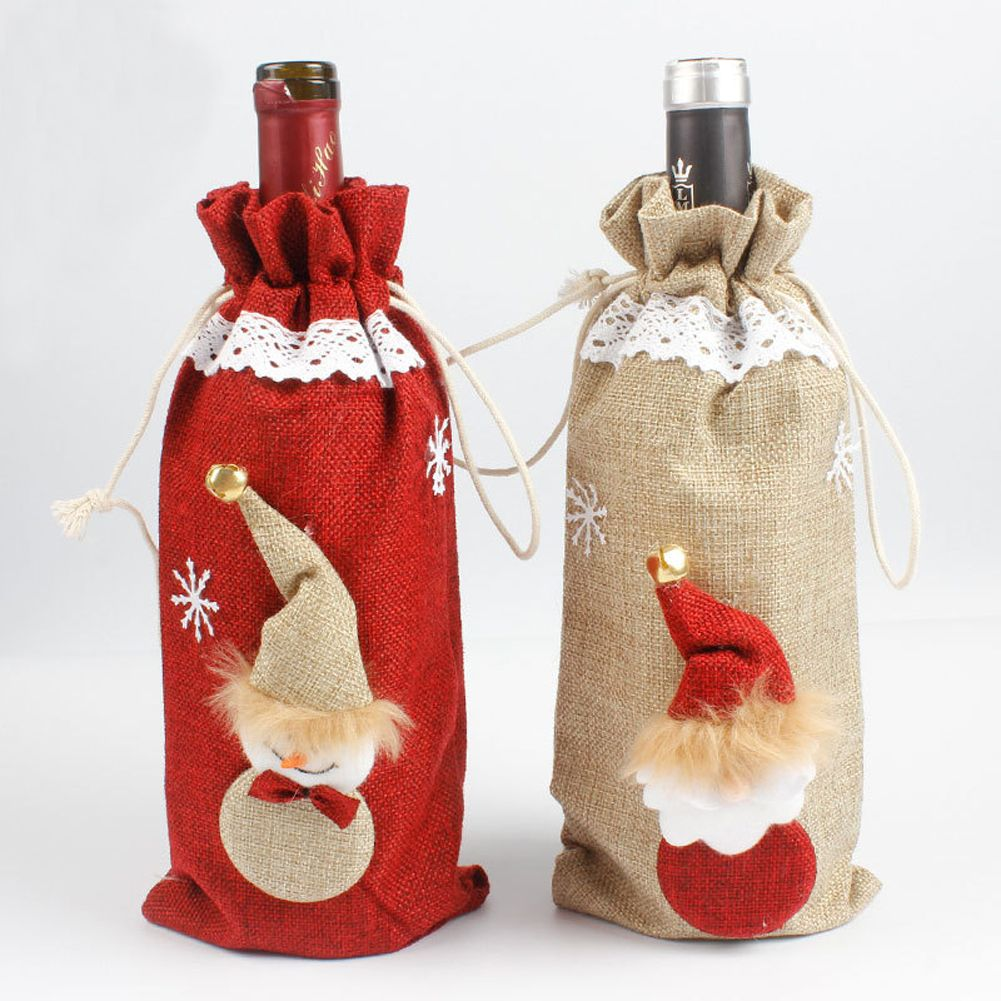 1pc Linen Wine Champagne Bottle Cover Snowmen Table Decor Christmas Dinner Party Supplies Gi Christmas Wine Bottle Covers Christmas Wine Bottles Christmas Wine