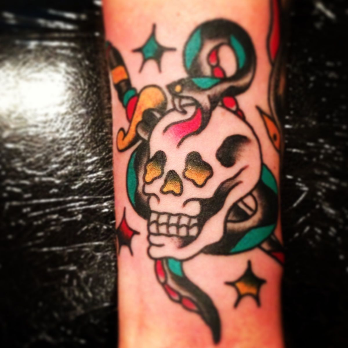 Traditional Flash Skull Tattoos: Snake, Skull, And Dagger Done By Frank William At Chicago