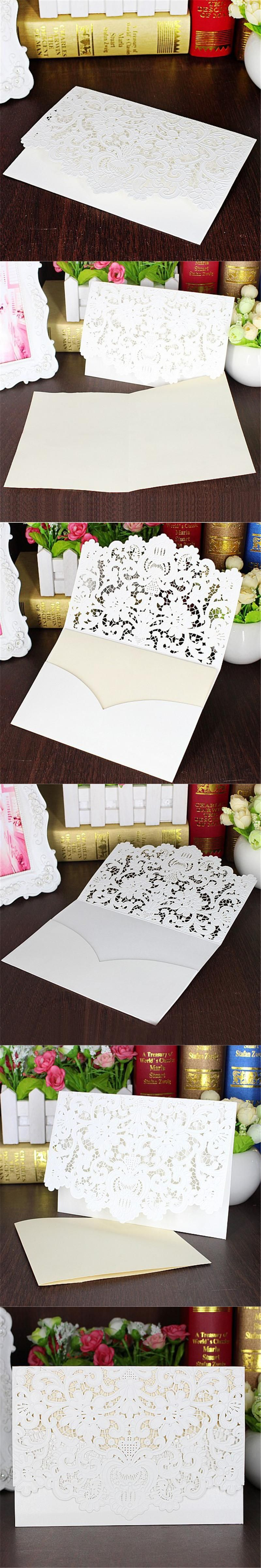 5pcs/set White Hollow Lace Cut Wedding Invitations Card Folded ...