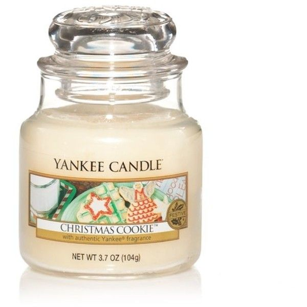 Yankee Candle Small Christmas cookie housewarmer candle ($9.88) ❤ liked on Polyvore featuring home, home decor, candles & candleholders, fillers, home & furniture, xmas candles, vanilla scented candles, scented jar candles, yankee candle and christmas home decor